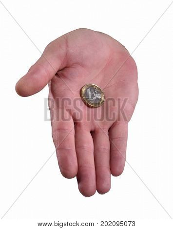 Hand give euro coin. Hold coin on white background.