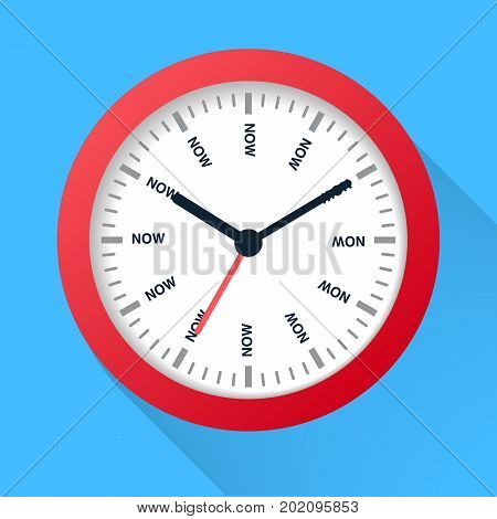 Time is now concept. Watch symbol illustration on dark background. Time management.