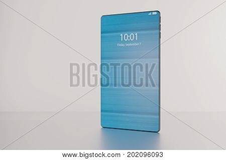 3D illustration of a fictitious bezel-free high-end smartphone is revealed during a product presentation.