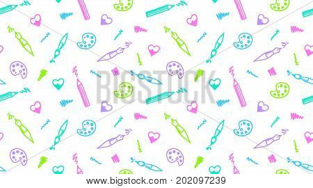 Hand drawn seamless pattern of art elements. Pen, pencil, brush, paint palette, heart and strokes.