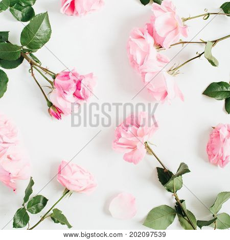Floral pattern made of pink roses green leaves on white background. Flat lay top view. Floral pattern. Pattern of flowers. Flowers texture.