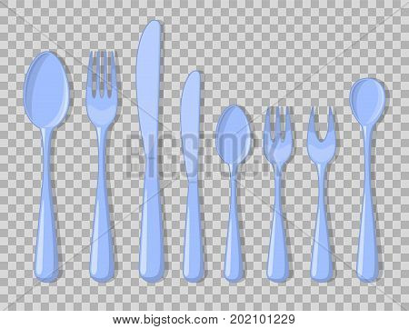 Cutlery set isolated fork for fish and other seafood for lemon spoon usual table for drinks and ice cream and desserts knife usual and fruit. Vector Illustration collection devices for food.