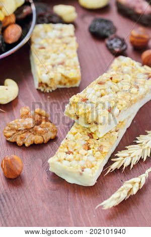 Cereal Bars Of Granola With Nuts And Raisins