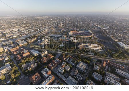 Aerial view of Exposition Park, the LA Memorial Coliseum and the University of Southern California near downtown Los Angeles.