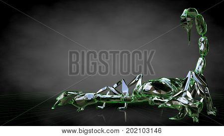 3D Rendering Of A Reflective Scorpion On A Dark Black Background