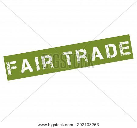 Rubber stamp with text fair trade illustration