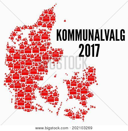 Danish municipalities elections 2017 illustration with a white background