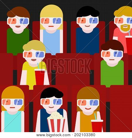 Flat People Sitting in the Cinema and Watching a Movie with Snacks and Drinks. Colorful Vector Illustration