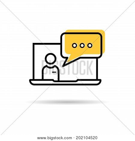 Vector line icon of man operator from laptop - online technical support. Outline colored pictogram businessman and computer