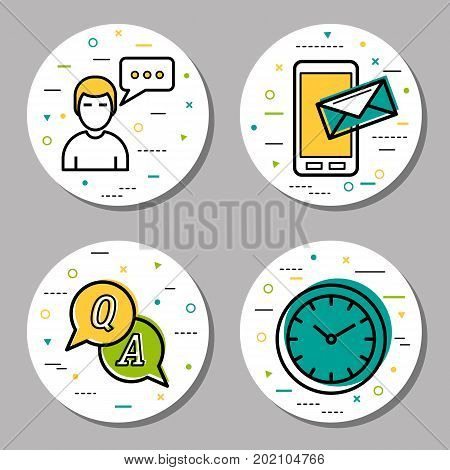 Vector four round online support linear icons with additional elements. Chatting for help, message for support, female technical assistant, clock and question marks, faq concept