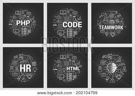 Vector six black square linear concepts for PHP, HR, CODE, TEAMWORK and HTML