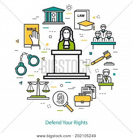 Vector round web banner of judiciary service. Modern thin line icons in three colors. The judge on the podium and icons of scales, courthouse, attorney, jury and prison