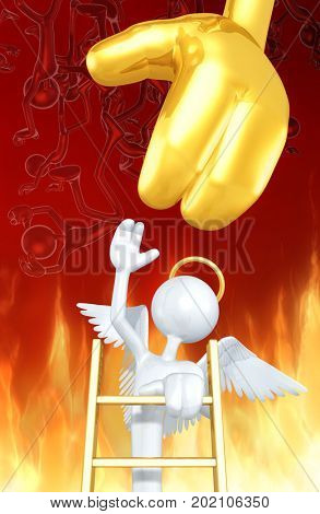The Original 3D Character Angel Illustration Reaching To God