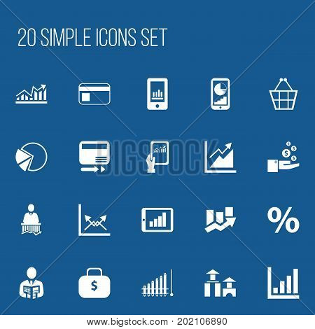 Set Of 20 Editable Logical Icons. Includes Symbols Such As Progress, Trading Purse, Percent And More