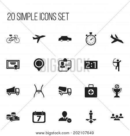 Set Of 20 Editable Complicated Icons. Includes Symbols Such As Group, Velocipede, Chronometer And More