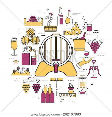 Vector linear round concept of barrel of wine, processing of grapes. Isolated illustration with outline icons in purple and yellow colors. Round web banner of viticulture, winemaking and storage