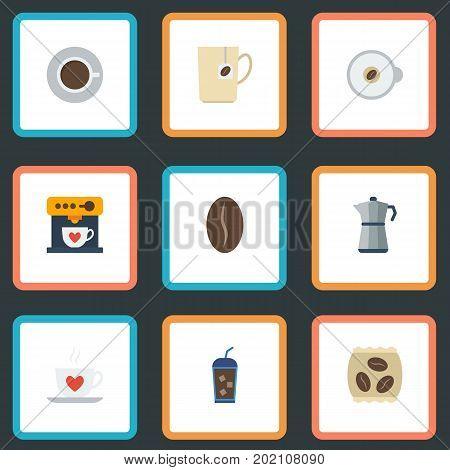 Flat Icons Moka Pot, Cappuccino, Arabica Bean And Other Vector Elements