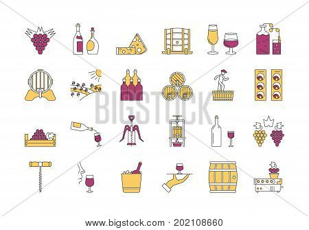 Vector set of colored 24 linear outline icons. Wine production and service isolated pictographs. Viticulture, winemaking and storage, tools and equipment