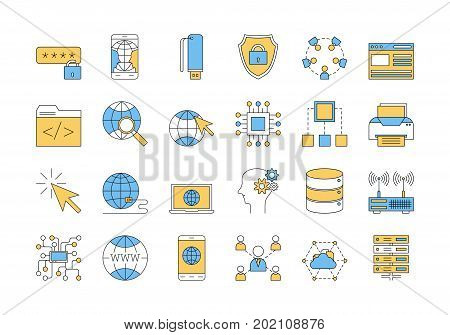 Vector set of colored 24 linear outline icons. Internet technology isolated pictographs in blue and yellow colors. Globe, router, device, server and users