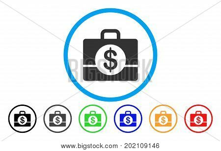 Accounting Case vector rounded icon. Image style is a flat gray icon symbol inside a blue circle. Bonus color variants are grey, black, blue, green, red, orange.