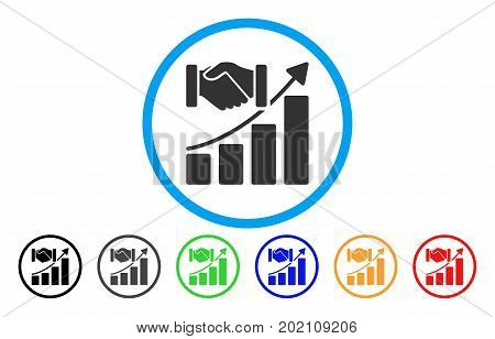 Acquisition Growth vector rounded icon. Image style is a flat gray icon symbol inside a blue circle. Additional color versions are grey, black, blue, green, red, orange.