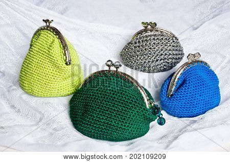 Handmade Crochet Purse With Cotton Thread In Green, Silver, Blue And Yellow Color