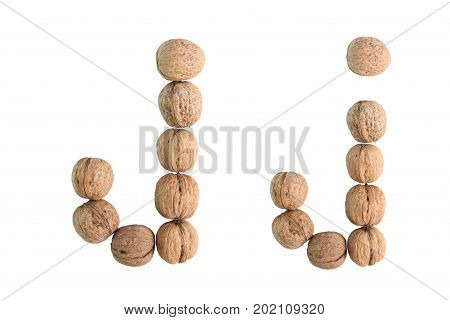 The group of walnuts on white background making letter J. Studio shot