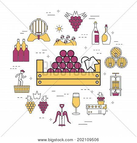Vector linear round concept of basket with grapes. Isolated illustration with outline icons in purple and yellow colors. Square web banner of viticulture, winemaking and storage of products