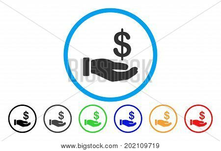 Earnings Hand vector rounded icon. Image style is a flat gray icon symbol inside a blue circle. Bonus color versions are grey, black, blue, green, red, orange.