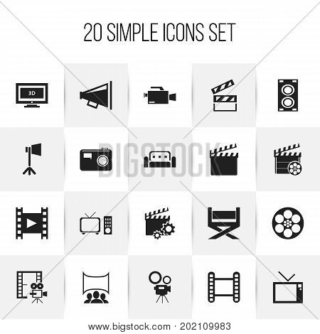 Set Of 20 Editable Cinema Icons. Includes Symbols Such As Widescreen, Photographing, Megaphone And More