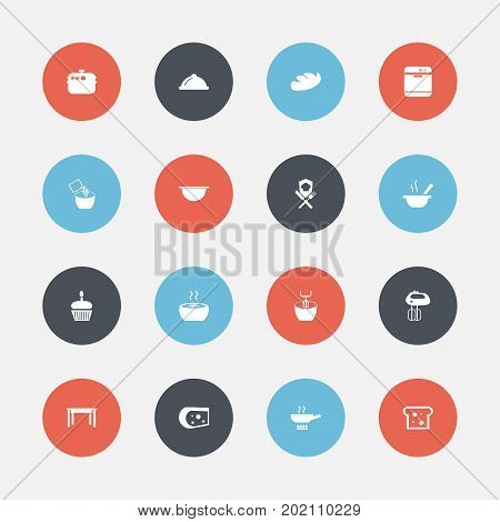 Set Of 16 Editable Kitchen Icons. Includes Symbols Such As Desk, Soup, Bowl And More