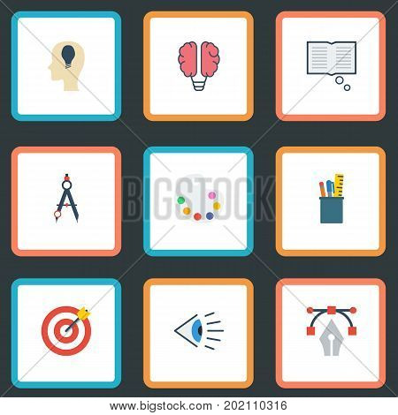 Flat Icons Case, Arrow, Idea And Other Vector Elements