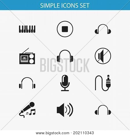 Set Of 12 Editable Mp3 Icons. Includes Symbols Such As Cassette Player, Headsets, Karaoke And More