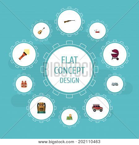 Flat Icons Weapon, Penknife, Suv And Other Vector Elements