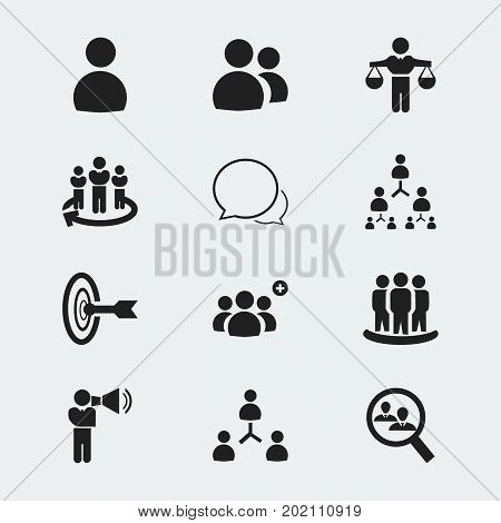 Set Of 12 Editable Cooperation Icons. Includes Symbols Such As Staff Structure, Corporate, Command