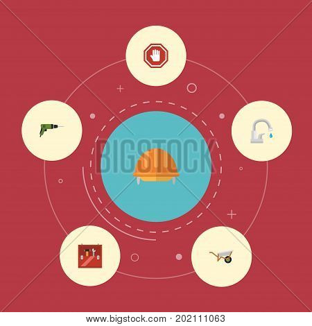 Flat Icons Stop Sign, Toolkit, Handcart Vector Elements