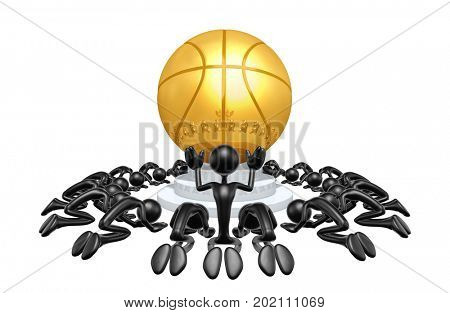 A Group Of The Original 3D Characters Illustration Worshiping A Basketball