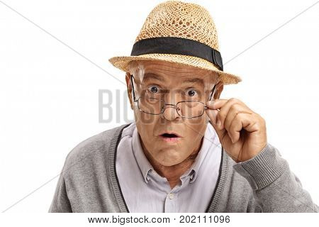 Surprised mature man looking at the camera isolated on white background