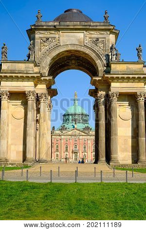 View on the Triumphal Arch at New Palace in Potsdam Germany.