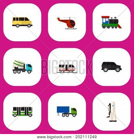 Set Of 9 Editable Car Flat Icons. Includes Symbols Such As Streetcar, Chopper, Missile And More