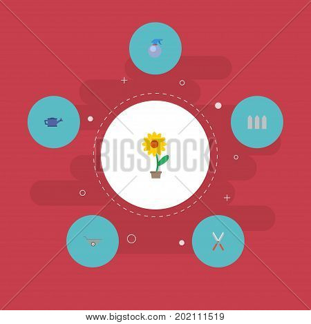 Flat Icons Spray Bottle, Scissors, Wheelbarrow And Other Vector Elements