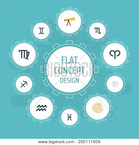 Flat Icons Water Bearer, Zodiac Sign, Archer And Other Vector Elements
