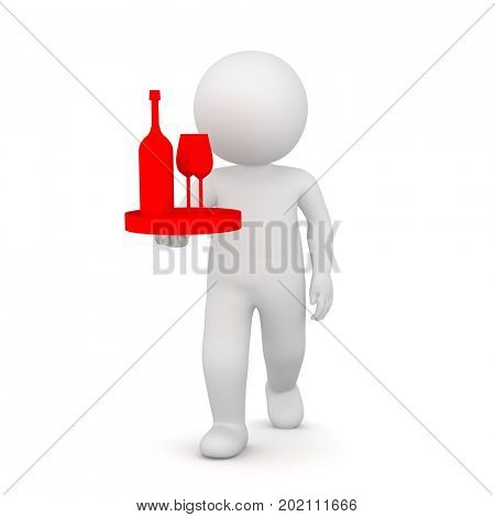 3D Rendering of a waiter bringing two glasses and a bottle of red wine on white background