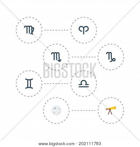 Flat Icons Virgin, Optics, Lunar And Other Vector Elements