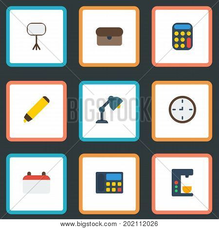 Flat Icons Watch, Phone, Suitcase And Other Vector Elements