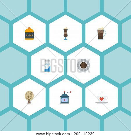 Flat Icons Mocha, Paper Box, Coffee Mill And Other Vector Elements
