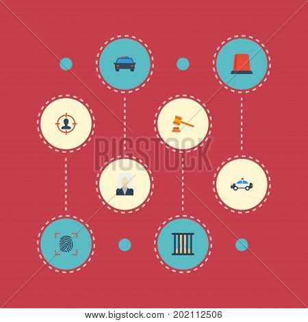Flat Icons Suspicious, Thumbprint, Jail And Other Vector Elements