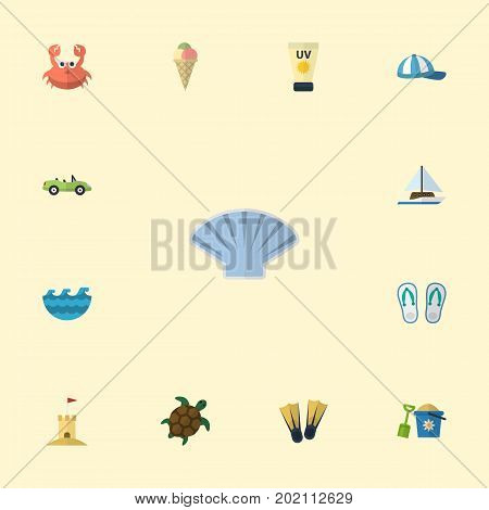 Flat Icons Tortoise, Conch, Slippers And Other Vector Elements