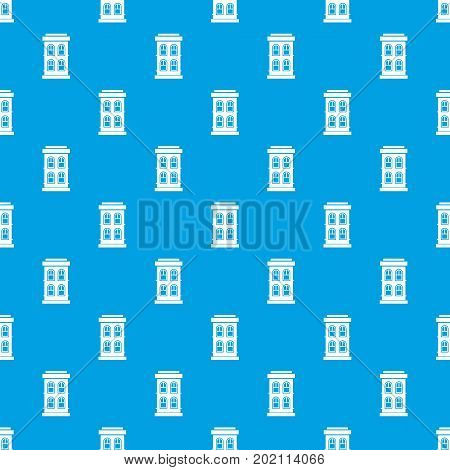 Two-storey house with large windows pattern repeat seamless in blue color for any design. Vector geometric illustration