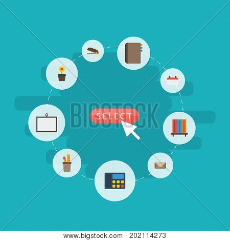 Flat Icons Pen Holder, Whiteboard, Bookshop And Other Vector Elements